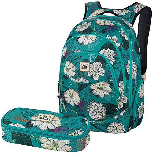 DAKINE 2er SET Laptop Rucksack Schulrucksack 25l PROM + SCHOOL CASE Mäppchen Pualani Blue Prom Fashion