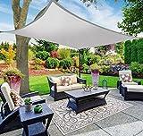 SAFETYON 4x4/6/8M Sonnenschutz Sonnensegel Segel Garten Shade Sail Schattensegel Sonnenschirm Zelt Terrasse UV Markise Dach Wasserdicht Grau 4x4M