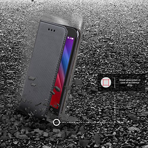 Moozy Cover iPhone X Nero Custodia a libro Flip Smart magnetica de
