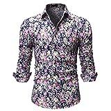 ODRD Herren T-Shirts Frühling Sommer Beiläufige gedruckte Art- und Weisemänner Blumen-Lange Hülsen-Knopf-T-Shirt Spitzenbluse
