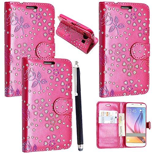 ZTE Blade L110 / A110 Handyhülle Mobile Stuff Book Case ZTE Blade L110/A110 Hülle Klapphülle Tasche im Retro Wallet Design mit Praktischer Aufstellfunktion + Stylus (Glitter Pink Book) (Superior-leder-holster)
