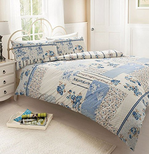 NEW CLASSIC BLUE VINTAGE ROSE & PATCHWORK PRINTED BED SETS (Double)