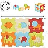 LUDI - Puzzle géant pour l'éveil de bébé. 9 petites dalles aux motifs animaux et 11 éléments de jeu. Pour les enfants de plus de 10 mois. Dimension : 47 x 31 x 1,3 cm -réf. 1007