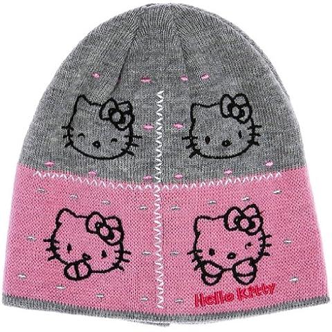 Hello Kitty de la niña kitty-bonnet cara, 40072/gris/rosa 5años
