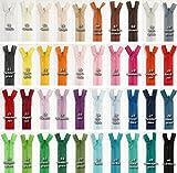 Jajasio 3 Reißverschlüsse nahtverdeckt, nicht teilbar, 40cm lang, Nahtverdeckter Reißverschluss in 40 Farben / Farbe: 3x02 - creme