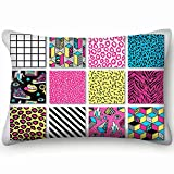 dfgi Memphis s Geometric Grid Striped Beauty Fashion Beauty Fashion Decorative Pillow Cover Soft and Cozy, Standard Size 20'x30' with Hidden Zipper