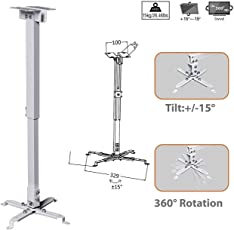 Ultima™Heavy Duty Invisible Cable Aluminum Universal Adjustable 3 feet Projector Ceiling Mount Kit.