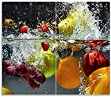 Wallario Herdabdeckplatte/Spritzschutz aus Glas, 2-teilig, 60x52cm, für Ceran- und Induktionsherde, Früchte im und unter Wasser - Splashing Fruits