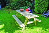 Unbekannt Picknicktisch Gartenbank Holzbank Holztisch B180xH73xT130 cm