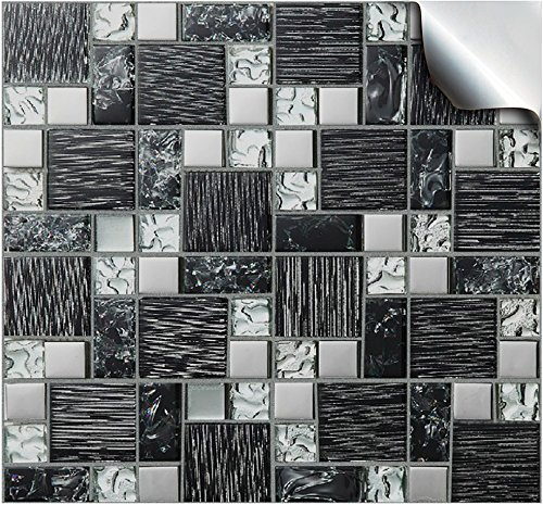 24 Printed in 2d Kitchen Bathroom Tile STICKERS For 150mm (6 inch) Square Tiles –(24 Black Silv. Glass - TP 71)- Directly From TILE STYLE DECALS, No Middleman