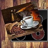 decorwelt Ceranfeldabdeckung 60x52 cm Herdabdeckplatten 1 Teilig Elektroherd Induktion Herdschutz Deko Glasplatte Schneidebrett Sicherheitsglas Spritzschutz Glas Kaffee