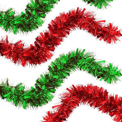 The Twiddlers 2er Pack - Festliches Weihnachten Lametta, 2 leuchtende Farben Rot & Grün - Girlande Ideal zum Dekorieren von Weihnachtsbäumen & weihnachtliche saisaonale Dekoration