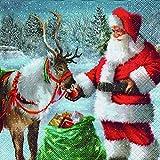 Cocktail Serviette 25x25 cm (Thank you) Rentier Weihnachtsmann Weihnachten Winter Schnee Tiere Wald Merry Christmas