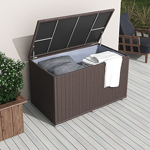 xxl kissenbox wasserdicht polyrattan 950l braun auflagenbox gartenbox gartentruhe. Black Bedroom Furniture Sets. Home Design Ideas