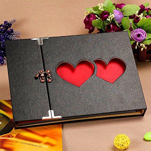 Xiduobao Álbum de fotos de alta calidad, diseño de tapa con corazones, especial regalo para el día de la madre, gran capacidad, vintage, recortes