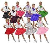 ILOVEFANCYDRESS Polka DOT Rock n ROLL Rock -10 Farben+2 GRÖßEN+2 LÄNGEN=Tanz Fasching Karneval VEREINE Gruppen=Weiss MIT SCHWARZEN Punkten-Plus Size/KURZ