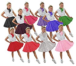 I LOVE FANCY DRESS LTD Polka DOT Rock n ROLL Rock -10 Farben+2 GRÖßEN+2 LÄNGEN=Tanz Fasching Karneval VEREINE Gruppen=ROT MIT WEIßEN Punkten-STANDART /KURZ