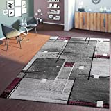 T&T Design Designer Teppich Linien Karo Grau Lila Speziell Meliert mit Konturenschnitt, Größe:160x230 cm