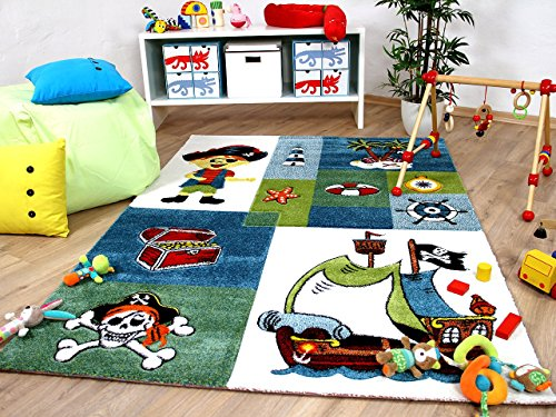 Maui Kinder und Spiel Teppich Kids Pirat Grün Blau in 5 Größen