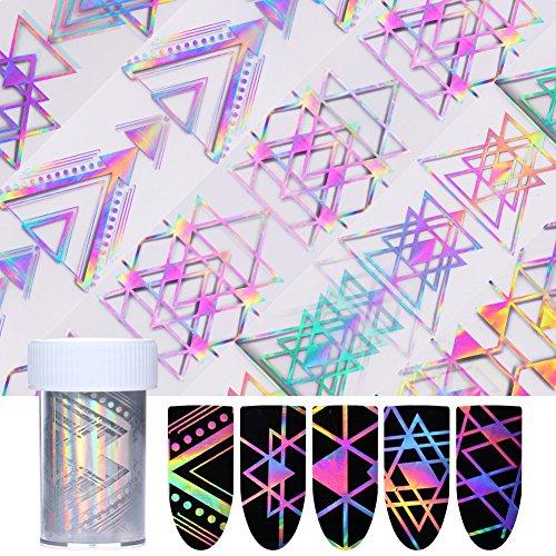 len 4* 100cm Geometrische Dreieck Holografische Nagel Folie Laser Maniküre Nail Art Transfer Sticker (Halloween Kleber Auf Die Nägel)