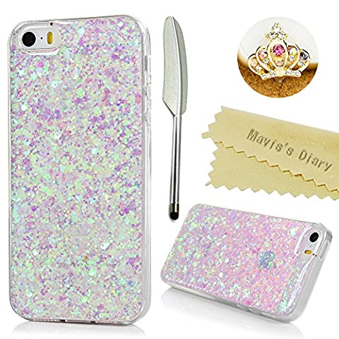 Mavis's Diary iPhone SE Case ,iPhone 5S Case ,iPhone 5 Case - Glitter Light Pink Bling Flexible TPU Gel Rubber Soft Skin Silicone Clear Cover Ultra [Slim Thin] [Shiny Design] Bumper Protective Case Cover with One Dust Plug & One Stylus for iPhone SE/5S/5- Light