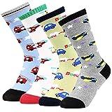 Vbiger 3 & 4 Paar Kleinkind Jungen Baumwolle Socken Dicken Winter Socken Warme Thermische Socken Kniehohe Socken Rutschfeste Strümpfe im Alter von 3-5 Jahren,Weihnachtsgeschenk