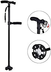 Dealcrox New Walking Stick for Old People Easy 2 Handled Folded with Light