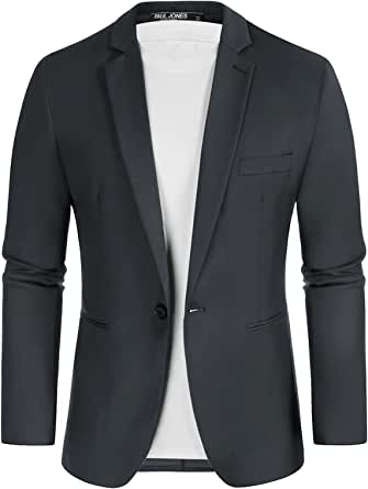 Paul Jones Men's Slim Fit One Button Blazers Casual Sports Jackets