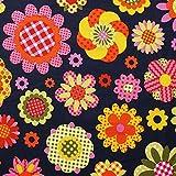 Hippie Blume - Grundton: marine - 100 % Baumwoll-Webstoff -