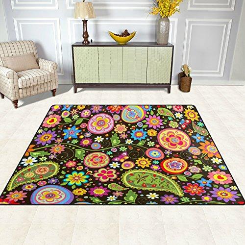 DOSHINE Bereich Teppiche Matte Teppich 4'X5', Indischen Floral Paisley Schmetterling Polyester Rutschfest Wohnzimmer Esszimmer Schlafzimmer Teppich Eingang Fußmatte Home Decor, Multi, 4'x5' (Floral Paisley Teppich)