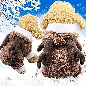 Hemore pour Animal Domestique Chiot Costume de Noël Elk Manteau Chaud Chat Chien Hiver Vêtements Chiot Déguisement Costume de Milieu pour Animal Domestique Fournitures