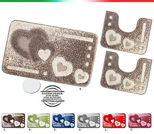 Tappeto bagno set 3 pezzi girowater parure shaggy assorbente retro antiscivolo mod.itaca set 3 pezzi porpora (p)