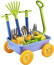 deAO Carriola e Attrezzi da Giardino per Bambini Gioco di Botanica e Giardinaggio Infantile Set Include 10 Accessori e 4 Vasi