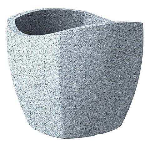Scheurich Wave Globe Cubo Pflanzgefäß Weiß-Granit Ø 40 cm, Höhe 36 cm