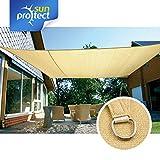 sunprotect 83489 Professional Sonnensegel, 5 x 4 m, rechteckig, Wind- & wasserdurchlässig, Beige