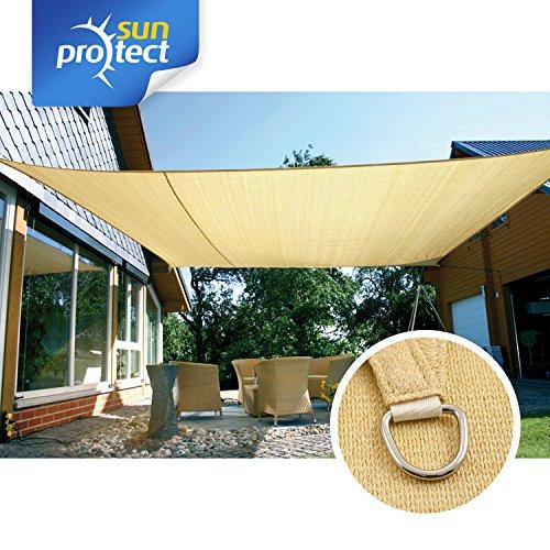 sunprotect 83489 Professional Sonnensegel, 5 x 4 m, rechteckig, Wind- & wasserdurchlässig, Beige | Garten > Sonnenschirme und Markisen > Sonnensegel | Polyethylen | sunprotect