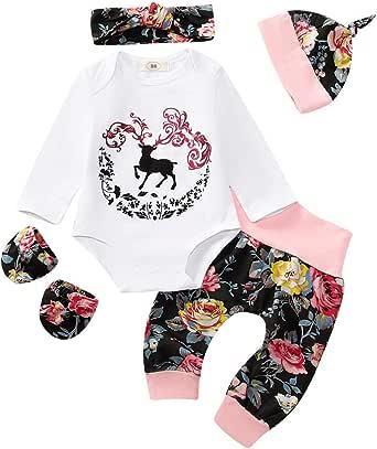 Slowera Baby M/ädchen 3-teiliges Set Strampler Kleid Schuhe und Stirnband Rose Blume Outfits Kleidung