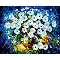 ZHAOSHOP Oil painting White Small Flower Number Wall Canvas Art Painting Painted By Number Diy By Number Of Home Wall Post-40cmx50cm(Frameless) Diy painting