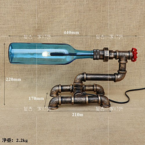 YFF@ILU American Retro energieeffiziente LED-loft kreative Wohnzimmer restaurant Studie Rohre Wein Flasche Lampe B - Wein Rohr