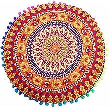 "Cojines indio Mandala piso almohadas redondas de almohadas de cojín bohemio cubierta funda By LMMVP (43*43cm/(17.0*17.0""), A)"
