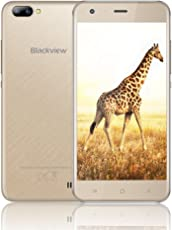 Günstiges Handy Ohne Vertrag, Blackview A7 Dual SIM Smartphone Handy mit 5.0 Zoll HD IPS Display - Android 7.0 Smartphone - Quad Core 1.3GHz - Hintere Dual Kamera 5.0MP - 2800mAh Große Batterie - 8GB ROM - Gold