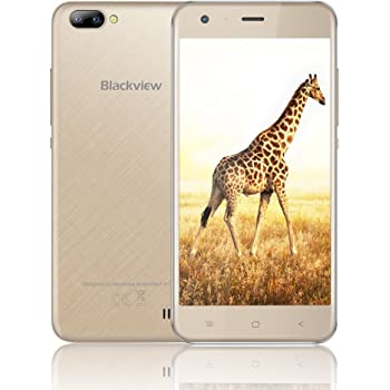 "Cellulare Offerta, Blackview A7 Smartphone Android 7.0, Offerta Cellulari-5.0""HD - 1GB RAM + 8GB ROM - 2MP+5MP Fotocamera-2800mAh-3G/WiFi/GPS/Bluetooth/Cellulare Dual SIM (Oro)"