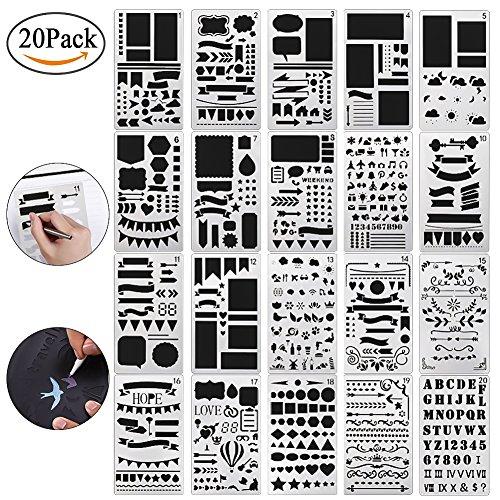 Wskderliner Zeichenschablonen Bullet Journal Set Scrapbooking Zeichen Grafiken Schablonen Technisches Alphabet Buchstaben Ornamente Künstler Set 20 Stück