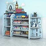Urbancart Kids Multi Storage Toys & Books Organiser with 6 Bins & 7 Multi-Layer Shelf Rack. (Blue)