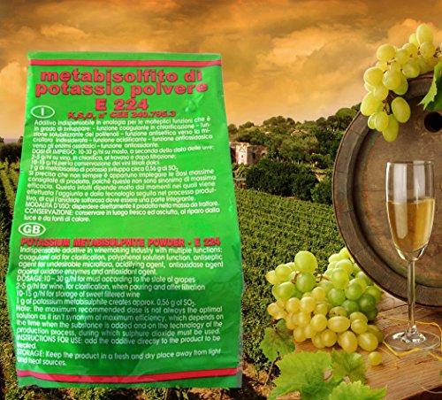 Hoppy Metabisolfito di Potassio Puro da 1 Kg per Enologia E224 Vino Birra Altro Alta Qualità