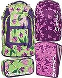satch pack Ivy Blossom 4er Set Rucksack, Schlamperbox, Heftebox & Regencape Lila