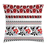 Ukrainian Throw Pillow Cushion Cover, Russian Rushnik Floral Arrangement Eastern European Folklore Ornaments, Decorative Square Accent Pillow Case, 18 X 18 inches, Royal Blue Black Red