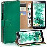 OneFlow Tasche für Samsung Galaxy S5 Mini Hülle Cover mit Kartenfächern | Flip Case Etui Handyhülle zum Aufklappen | Handytasche Schutzhülle Zubehör Handy Schutz Bumper in Dunkelgrün