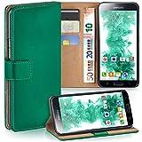 moex Samsung Galaxy S5 | Hülle Dunkel-Grün mit Karten-Fach 360° Book Klapp-Hülle Handytasche Kunst-Leder Handyhülle für Samsung Galaxy S5 / S5 Neo Case Flip Cover Schutzhülle Tasche