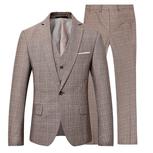 3 Stück Anzug Jacke Weste (Herren Modern Fit Business Casual 3-Stück-Anzug Blazer Jacke Tux Weste & Hose(03braun,L))